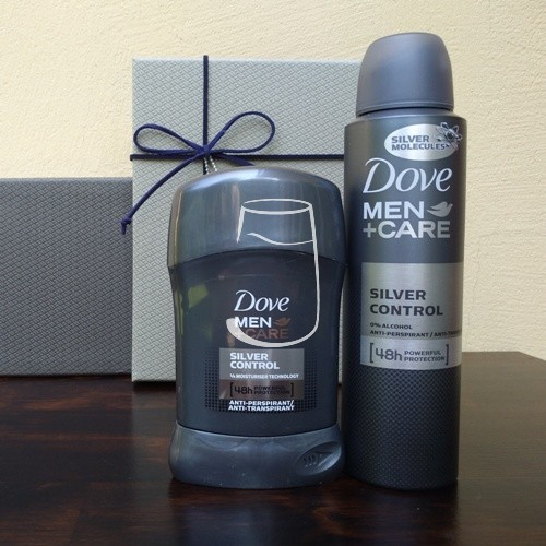 Dove Men+Care ajándékcsomag Silver control (dezodor, stick)